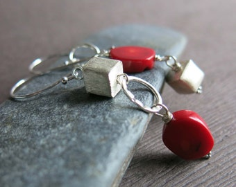 Red Coral Sterling Silver Earrings, Geometric Coral Earrings, Asymmetrical Red Silver Earrings, Oval Square Coral Earrings