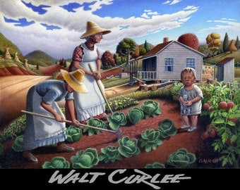 "Original oil painting, ""The Family Garden"" folk art rural country farm landscape, Americana, appalachian. by Walt Curlee"