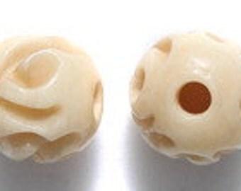 NICE 10mm Rose Carved Tea Dyed Bone Round Bead 2pcs