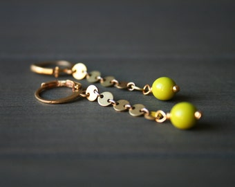 Olga Earrings - small hoop earrings modern long dangle colorful chartreuse green brass gold jewelry leverback disc chain minimalist circle