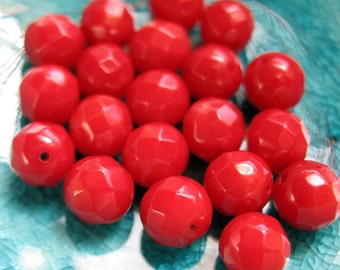 Faceted Red Coral Beads - 20 pieces