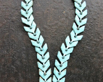Chevron Earring Chains in Verdigris Brass - 2 - 2 inch Pieces