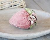 Beaded Strawberry Sachet in Rose Pink Silk Velvet, Cottage Decor