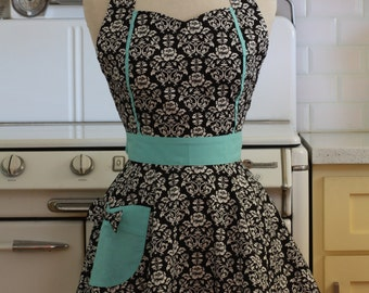 Retro Apron Black and White Floral Damask with Aqua MAGGIE