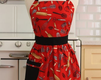 Retro Apron Cooking Utensils on Red - CHLOE