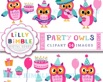 40% off Birthday Party Owls clipart, commercial use included, cute owl, cake, balloon, fiesta, clip art, Instant Download, Lilly Bimble