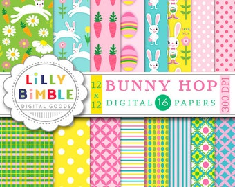 60% off BUNNY HOP Easter digital scrapbook paper, rabbits, bunnies, eggs, easter candy, carrots, polka dots, paper pack, Instant Download