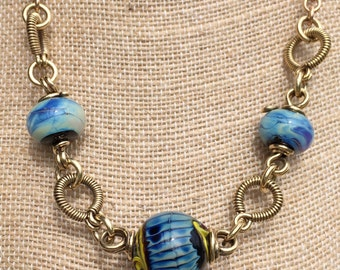 Handwrought brass link necklace, lampworked glass beads, one of a kind necklace