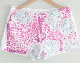 UNICORN White Denim Shorts~ neon Pink & Purple~ Bohemian Chic Clothing~ Size 32 Jean Shorts~ Gypsy Handpainted~ Kitsch Clothing~ Kawaii Boho