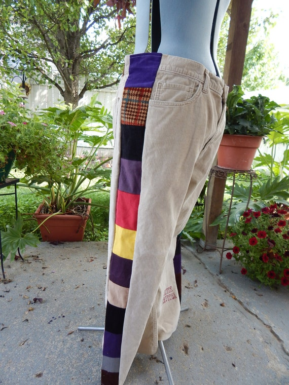 Mens UpCycLed Corduroy Patchwork Pants Grateful by attickpatchwork