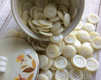 Creamy White Buttons,White and Cream Vintage Buttons,New Old Stock,NOS,Set of 16,Jacket Button,Coat Button