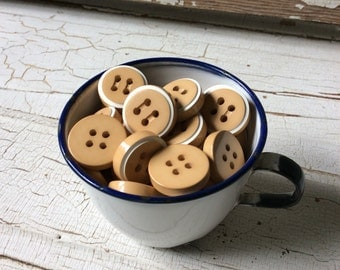 """Chunky Tan and White Vintage Buttons,Set of 12,New Old Stock,Vintage Seventies,3/4"""" in Diameter,Tan Button with White Stripe"""