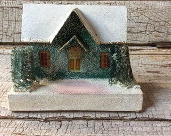 Large Vintage Mica Glitter Putz House/Dark Christmas Green Putz House/Cardboard House