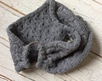 Headband Earwarmer/Eco Friendly Recycled Gray Sparkly Winter Headband