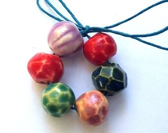 Beautiful Colors Ceramic Porcelain Clay Bead Mix Handmade Red Pink Dark Blue Peach Green