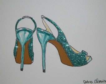 High Heel Shoes Glitter Sparkle Wedding Showers Gifts Fashion Inspired Art Original Painting by Artist Debra Alouise