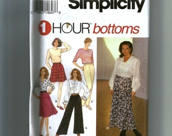 Simplicity Misses' Full Pants and Skirt, Each In Two Lengths and Slim Pants Pattern 8677