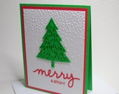 Merry & Bright card handmade stamped dry-embossed green red trees holiday paper party supplies greeting seasonal