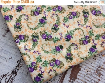 30% OFF SUPER SALE- Floral Cotton Fabric-- Quilting Cotton Fabric-Yellow and Purple