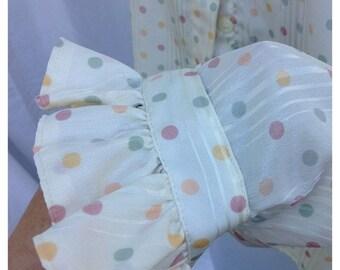40% OFF FLASH SALE- Ruffled Vintage Shirt-Polka Dots