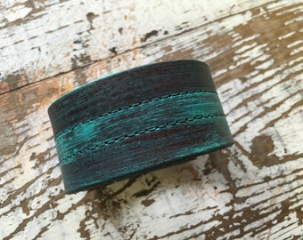Custom Leather Cuff-Create Your Own-Turquoise Collection Design-Word Cuff-Hand Painted