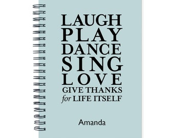 Inspirational Calendar Notebook, 2016 2017 Monthly Planner, Custom Color, Inspirational Journal, Gift Idea, Diary Notebook, SKU: pn play b