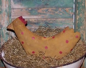 Primitive Chicken, Mustard Chicken Doll, Polkadot Easter Chicken, Rustic Spring Decor, Rustic Easter Decor, Primitive Animal - READY TO SHIP