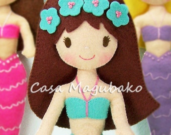 Felt Mermaid Doll Pattern - DIY Doll Tutorial - PDF File - Instant Download