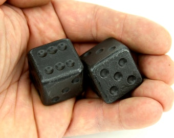 Pair Forged Iron Dice - Optional leather bag, Groomsmen Gift, 6th anniversary gift for him, boyfriend gift, Iron anniversary gift, Item D1