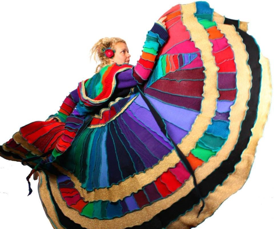 Recycled Sweater Coat Rainbow Kaleidoscope Swirl TUTORIAL