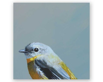 Eastern Yellow Robin 4 x 4 Wings on Wood Decor
