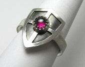 Shield Ring Pink Tourmaline cabochon Ring 1.03 carat Sterling Silver Size 9 1/4