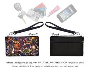 Colorful iPhone 6  Wristlet Wallet  cell phone case iPhone 6s case clutch bag w/ zipper pocket dots bubbles circles orange purple blue RTS