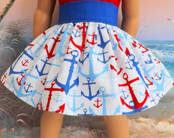 American Girl Doll Clothes Red White and Blue Nautical Very Fully Gathered 50s Style Skirt with Waistband Medley NEW Style