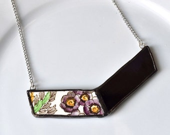 Broken China and Stained Glass Chevron Necklace - Purple Floral