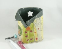 Toothbrush Holder, Pencil Holder, Ceramic Vase, Artistic Vessel, Desk Accessory, Green Star Vase 437