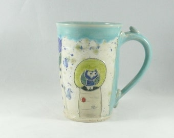 Ceramic Coffee Mug, coffee cup, Chai Teacup, Unique Coffee Mugs, Blue Beer Stein 304