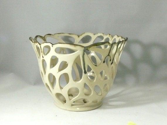 Studio Art Vase, Gift for Women, Modern Decor, White Art Vessel, Candle Holder Home decor, Office Decor, Cut Out Vase pottery and ceramics,