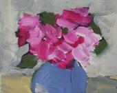 original painting, flower painting, pink flowers, floral art, wall art, pink wall art