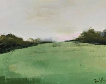 landscape painting, green landscape, abstract landscape,small landscape, gallery wall, art,