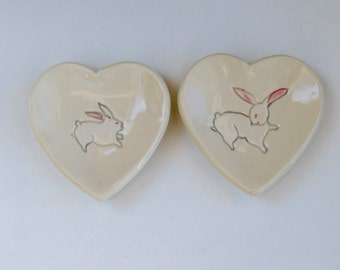 Pretty Little Heart Plates,  Set of Two, Mama and Baby Bunny