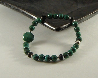 Malachite and Black Jade Bracelet
