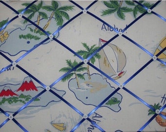 ON SALE French Message Board Kids Blue Island Surf Aloha Hawaiian Island with Pottery Barn Kids fabric, Any Color Ribbons Buttons Available