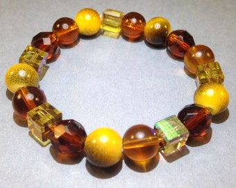 Amber Yellow Bracelet - Child Bracelet - Stretch Bracelet - Gift For Child - Statement Bracelet - Wrap Bracelet - Boho Chic - Hippie Jewelry
