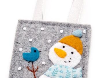 Felt Ornament, Snowman and Felt Bird, Hand Embroidery, Christmas Decoration, Tree Trimming Party, Stocking Stuffer, Advent Calendar Gift
