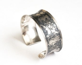 Argentium Silver Painting Cuff Bracelet