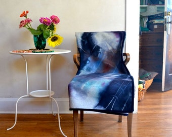 Hand Dyed Wool Blanket / Abstract Rorschach Design w/ Eco Natural Dye -- Large Size