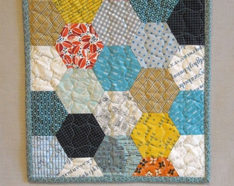 Quilted Table Runner - Hexagon Quilt Table Topper - Novelty and Shirting Prints