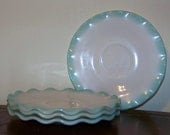 Hazel-Atlas Ripple Crinoline Saucers Set of 4 Turquoise Blue Aqua Vintage