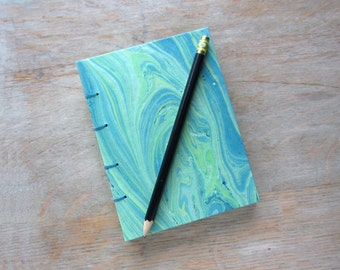 Travel Journal Green with Blue Marble, unlined green pages, Ready To Ship